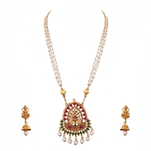 Generic Gold Plated Stone Work Gold Plated Temple Necklace Set For Women