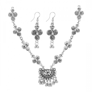 Generic Jewellery Antique Silver Stone Work Handcrafted Oxidised Necklace Set For Women