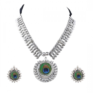 Generic Silver Oxidized Silver Peacock Necklace Set For Women