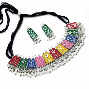 Generic Oxidised Silver Plated Meena Work Choker Necklace Set For Women