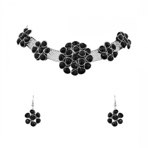 Generic Stylish Pearl Beads Oxidised Silver Necklace Set For Women